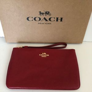 Authentic Coach Large Wristlet In True Red NWT